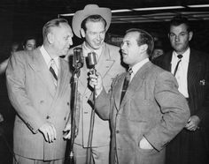 Lt. Governor Goodwin J. Knight, Rex Allen, and Johnny Grant pose at the opening of the California Theatre in Burbank, on December 13, 1950. San Fernando Valley Historical Society.