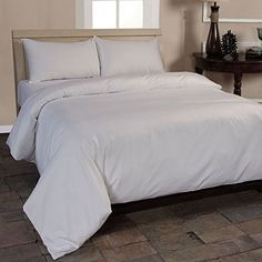From 45.99:Homescapes Double White Organic Cotton Duvet Cover Set Plain Dyed Percale 400 Thread Count With 100% Cotton Pillowcases Included