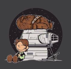 """Han Brown"" by Fernando Sala Soler Han Solo and Chewbacca in the style of Charlie Brown and Snoopy Star Wars Film, Star Wars Art, Star Wars Cartoon, Cartoon Art, Star Wars Karikatur, Wallpaper Fofos, Han Solo And Chewbacca, Snoopy Quotes, Cartoon Crossovers"