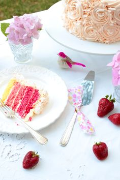 Ivory cake with a hidden colourful inside