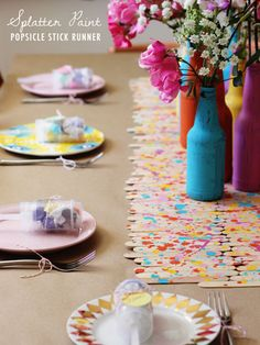 How cute is this popsicle stick table runner?!