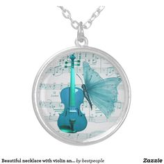 Beautiful necklace with violin and butterfly