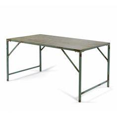 table vintage, table armée, table metal, table pliante