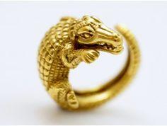 BARRY KIESELSTEIN CORD / CROCODILE ALIGATOR RING / 750 GOLD / um 1988