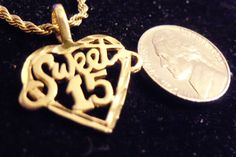 7f4cc9dc56f2 bling 14kt yellow gold plated HEART SWEET 15 word pendant charm 24 inch  rope chain hip