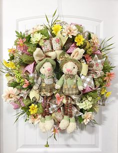 Your place to buy and sell all things handmade Easter Tree, Easter Wreaths, Holiday Wreaths, Easter Bunny, Bunny Crafts, Easter Crafts, Wreath Burlap, Door Wreath, Candy Wreath