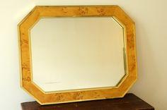 70's glam - LaBarge burl wood & brass octagonal mirror