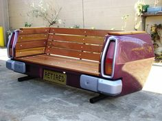 Tail-End Bench ~ Vehicular Furnishings and Automotive Decor Car Part Furniture, Automotive Furniture, Automotive Decor, Furniture Design, Outdoor Furniture, Furniture Ads, Garden Furniture, Deco Restaurant, Tailgate Bench