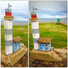 Handmade Welsh Driftwood Lighthouse with by Welshdriftwoodart