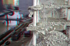 https://flic.kr/p/FMpcKy | Sloop Terraced-tower Rotterdam 3D | anaglyph stereo red/cyan