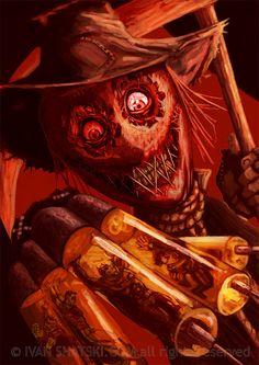 Scarecrow Batman, Scarecrow Mask, Batman Art, Batman And Superman, Batman Robin, Batman Redesign, Comic Villains, Horror Themes, Joker And Harley
