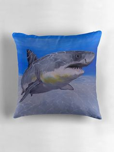 Throw Pillow,  home,accessories,sofa,couch,decor,cool,beautiful,fancy,unique,trendy,artistic,awesome,fahionable,unusual,gifts,presents,for sale,design,ideas,items,products,aqua,blue,turquoise,grey,shark,wildlife,ocean,redbubble