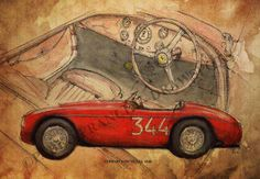 Ferrari Barchetta 1948 Original Handmade Drawing by drawspots, $38.00