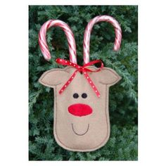In The Hoop :: Candy & Treat Holders :: Reindeer Candy Cane Holder 4x4 - Embroidery Garden