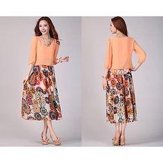 Women's Plus Size Chiffon Maxi Dresses - USD $ 35.69