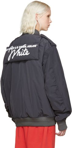 Off-White: Grey Nylon Bomber Jacket | SSENSE