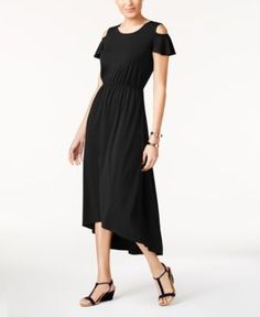 Ny Collection Petite Cold-Shoulder High-Low Dress -