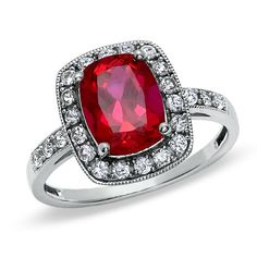 Cushion-Cut Lab-Created Ruby and White Sapphire Frame Ring in 14K White Gold - Zales