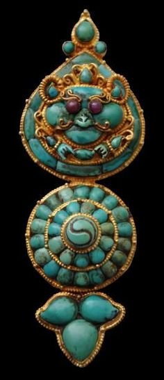 Gold, Turquoise & Ruby Ornament, Lhasa, Tibet, circa 1900