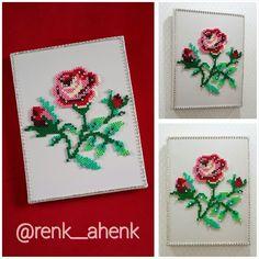 Framed rose hama perler beads by renk__ahenk Hama Beads Patterns, Beading Patterns Free, Peyote Patterns, 3d Perler Bead, Diy Crafts For Gifts, Fuse Beads, Miniture Things, Loom Beading, How To Make Beads
