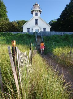 Mission Point Lighthouse in Grand Traverse Bay, Lake Michigan