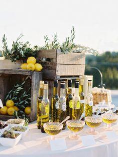 Olive oil tasting bar: http://www.stylemepretty.com/maryland-weddings/bethesda-maryland/2016/05/20/a-greek-inspired-affair-complete-with-an-olive-oil-bar/   Photography: Abby Jiu - http://www.abbyjiu.com/