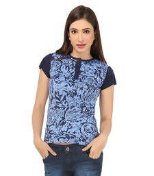 Buy Blue cotton spandex jersey tops top online