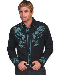 Scully Turquoise Embroidered Shirt  Maybe for me, not sure for a guy - Kim