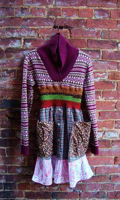 Boho Sweater Dress/Artisan Smock Sweater by RebirthRecycling~~ Such a cool idea!