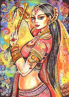 Indian Dancer, Bollywood, Magic of Dance, Girls Room Decor, Indian Painting, Dancing Girl, Beautiful Dance - Art Print via Etsy