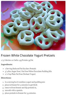 Frozen white chocolate yogurt pretzels