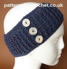 Free Crochet Pattern - EarWarmer Headband from Patterns For Crochet UK