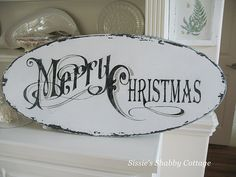 I love this old looking sign! add a bow with some greenery and hang it