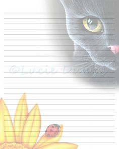 Digital Printable Journal writing lined Page black Cat 510 Stationary 8x10 Download Scrapbooking Paper Template art painting L.Dumas by DigitalsbyLucie on Etsy