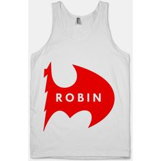 Robin - Half Logo (Tank) (35 CAD) ❤ liked on Polyvore featuring tops, shirts, tank tops, tanks, batman, logo tank, slim fit shirts, slimming tank, slim shirt and logo tops