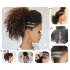 Natural Hair DIY: Ponytail faux hawk w/ side braids | See more about natural hair tutorials, braid tutorials and hair beauty.