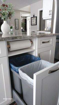 Love this kitchen storage idea. Garbage, recycling, and paper towels neatly tuck. - Love this kitchen storage idea. Garbage, recycling, and paper towels neatly tucked away… - Diy Kitchen Storage, Home Decor Kitchen, Rustic Kitchen, Interior Design Kitchen, New Kitchen, Home Kitchens, Kitchen Organization, Organization Ideas, Storage Ideas