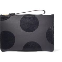 Sophie Hulme Talbot polka-dot calf hair and leather pouch ($280) ❤ liked on Polyvore featuring bags, handbags, clutches, navy, blue leather handbags, cell phone purse, leather zip pouch, leather handbags and blue leather purse