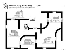 Valentine's Day Ozobot Mazes - February Coding by Brainy Squirrel Computational Thinking, Activity Sheets, Maze, Fun Projects, More Fun, Activities For Kids, Valentines Day, Homeschool, Classroom