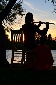 Flute in the sunset.