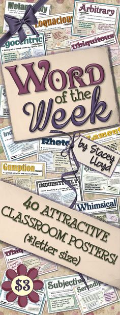 Help your students learn a word a week with these 40 new word posters (that's more than enough for the entire school year!)