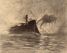 """HENRIQUE ALVIM CORRÊA - Thunderchild Versus Martian, from The War of the Worlds, Belgium edition, 1906 (illustration from Book I- The Coming of the Martians, Chapter XVI- """"The Exodus from London,"""")"""