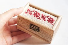 "Wooden Box For With Handmade Embroidery ""folk Motives"" - Home Decor, Wedding…"