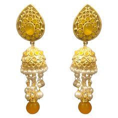 Yellow White Earrings Designer Stuff
