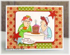 Art Impressions Rubber Stamps: Ai Golden Oldies: Out to Lunch Set of 4 (Sku#3576) ... handmade birthday card. weight watchers, weight loss, dieting