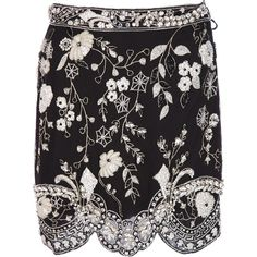 GENNY BY GIANNI VERSACE VINTAGE floral beaded mini skirt (€555) ❤ liked on Polyvore featuring skirts, mini skirts, bottoms, high-waisted skirts, white silk skirt, short skirts, mini skirt and high waist skirt