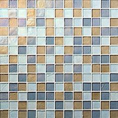 """Oceanside Glasstile...Collection Name: Muse...Color Name: Escape...Components: Cane Irid, ...Components: �Clear Irid, ...Components: ��Fleet Blue Irid...Item Description: 7/8 x 7/8 Field...Square Feet Per Sheet: 1.02...Sheet Size: 12 1/8"""" x 12 1/8""""...Thickness: .25""""...Sample Item Number: 77817"""