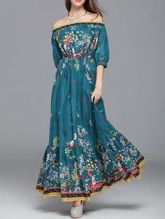 #AdoreWe StyleWe Maxi Dresses - CICI WANG Aqua Printed Floral Balloon Sleeve Off Shoulder Maxi Dress - AdoreWe.com