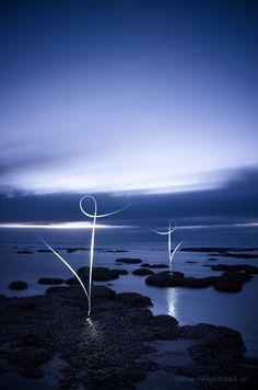 Lightmark No.97, Hamelin Pool Marine Nature Reserve, Western Australia, Light Painting, Night Photography.
