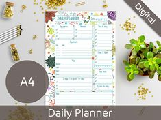 ***Instant Download*** This is a digital file - no physical item will be sent.  This printable daily planner will let you plan your whole day and stay organized! Plan your daily activities Control your top-priorities Write down your to-do list Plan your meetings Plan your daily